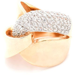 Rose Gold Overlay Cubic Zirconia Overlapping Style Ring
