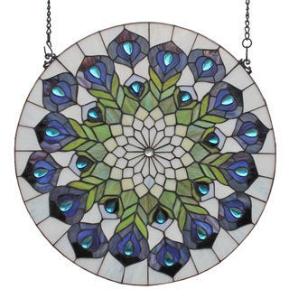Tiffany Style Peacock Feathers Design Stained Glass Window Panel
