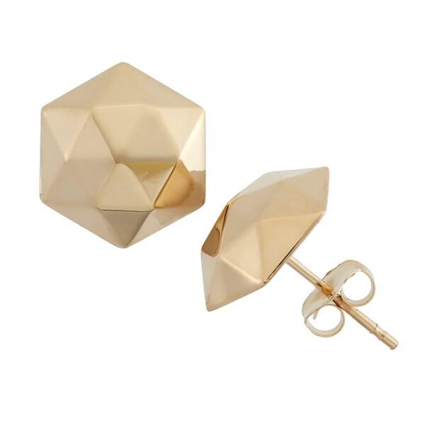 Gioelli 14k Gold 9mm High Polish Hexagon Stud Earrings