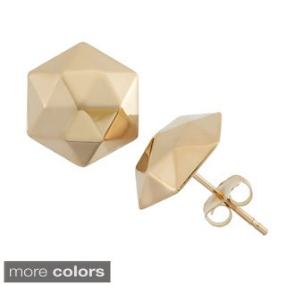 Gioelli 14k Gold 9mm High Polish Hexagon Stud Earrings