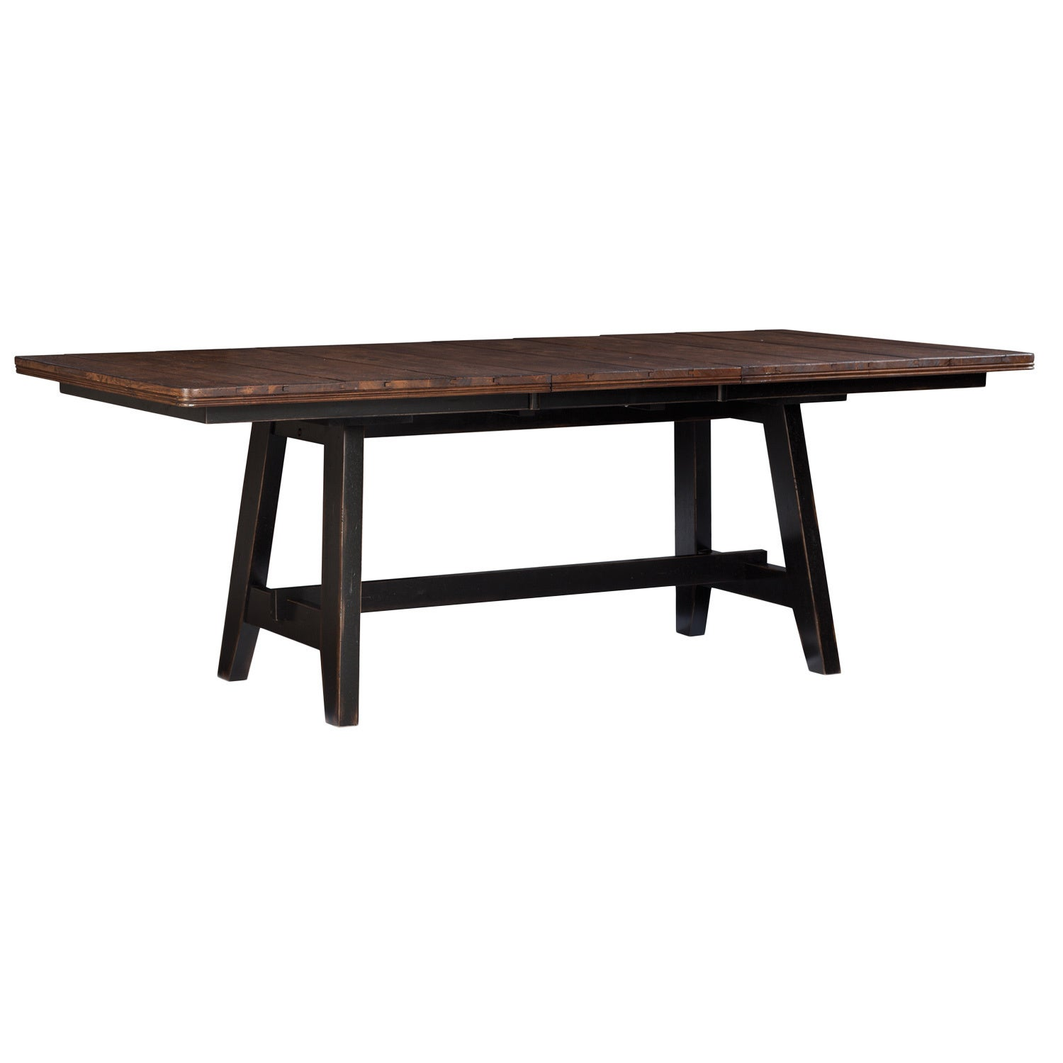 Winchester Black Honey Nut Solid Knotty Rubberwood Trestle Dinette Table O