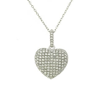 Sterling Silver Cubic Zirconia Micro Pave Puff Heart Necklace