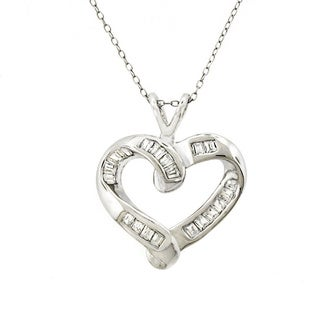 Sterling Silver Cubic Zirconia Open Love Heart Necklace