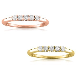 14k Rose Gold 1/4ct TDW Round-cut Diamond 5-stone Wedding Band (F-G, VS1-VS2)