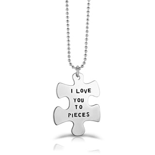 Collette Z Silvertone Base Metal 'I Love You to Pieces' Puzzle Necklace