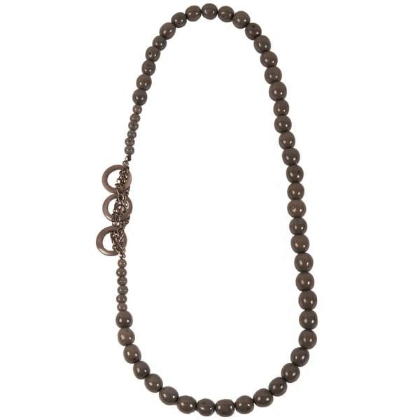 Soft Grey Circle Chain Seed Necklace (Ecuador)