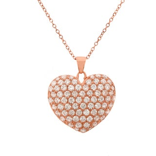 Rose Gold Sterling Silver Cubic Zirconia Micropave Fancy Puff Heart Necklace