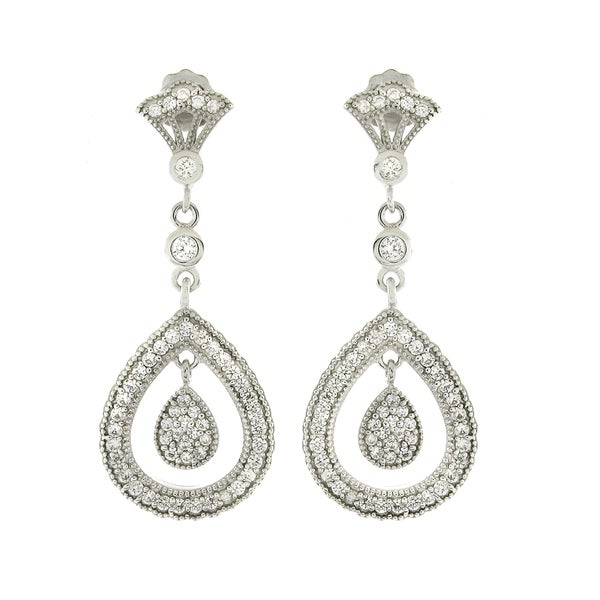 Sterling Silver Cubic Zirconia Micro Pave Hanging Teardrop Dangle Earrings