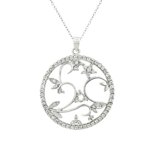 Sterling Silver Cubic Zirconia Micro Pave Open Floral Disc Necklace