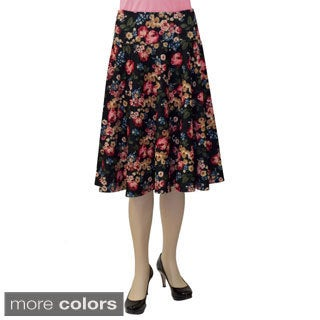 Baby'O Women's Fit and Flare Quilted Knit Floral Midi Length Circle Skirt