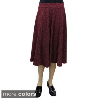 Baby'O Women's Tweed Boucle Midi Length Stretch Knit Full Circle Skirt