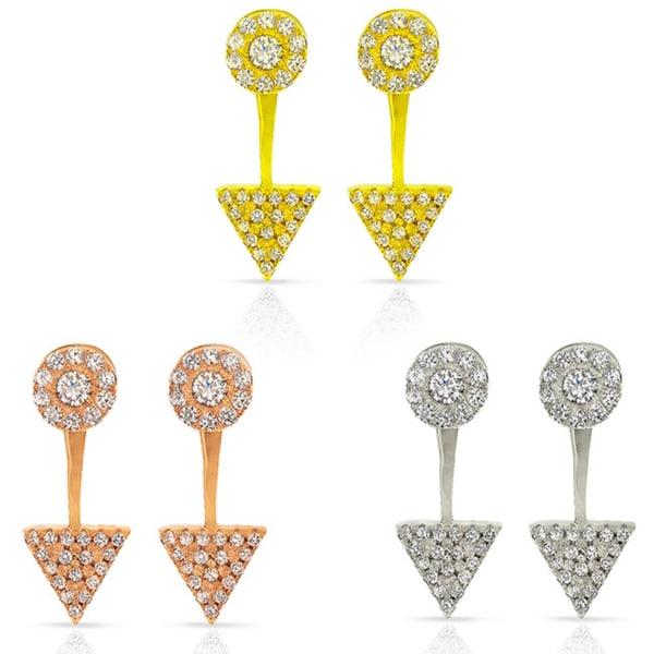 Sterling Silver Cubic Zirconia Double Back Arrows Up Stud Earrings