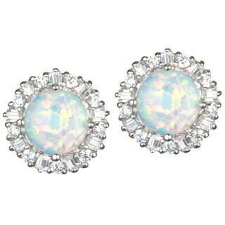 Sterling Silver Synthetic Opal Stud Earrings