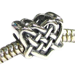 Queenberry Sterling Silver Celtic Love Knot Heart Bead European Charm