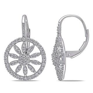 Miadora 10k White Gold 1ct TDW Diamond Circle Earrings (G-H, I2-I3)