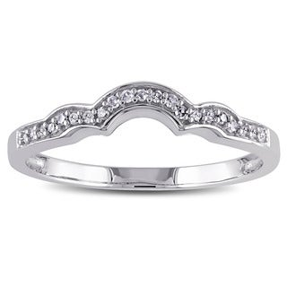 Miadora 10k White Gold 1/10ct TDW Diamond Stackable Contoured Wedding Band (G-H, I2-I3)