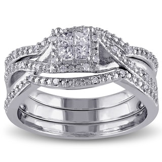 Miadora Sterling Silver 1/3ct TDW Princess and Round-cut Split Shank Diamond Bridal Ring Set (G-H, I2-I3)