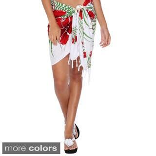 1 World Sarongs Women's Hawaiian Floral Half Sarong (Indonesia)
