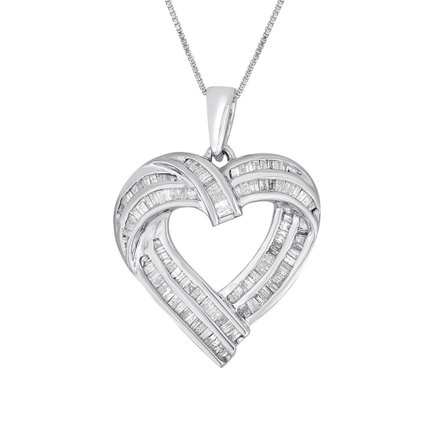 Sterling Silver .90ct TDW Diamond Heart Pendant Necklace (I-J, I2-I3)