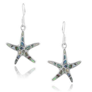 Journee Collection Sterling Silver Handcrafted Shell Star Earrings
