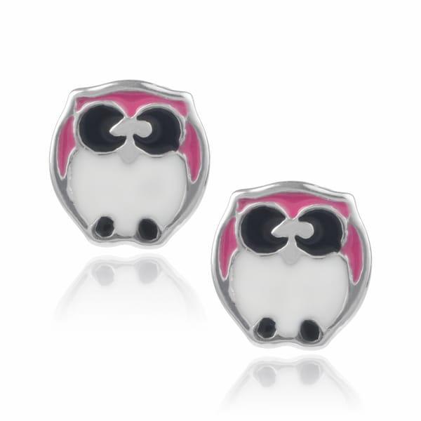 Journee Collection Sterling Silver Owl Stud Earrings