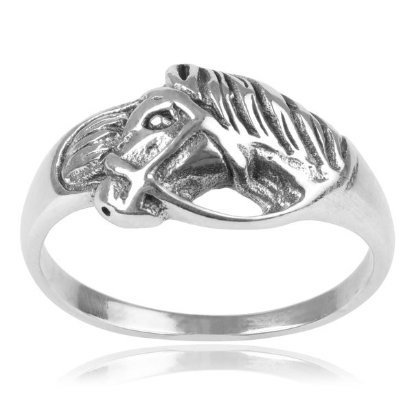 Journee Collection Sterling Silver Western Horse Ring