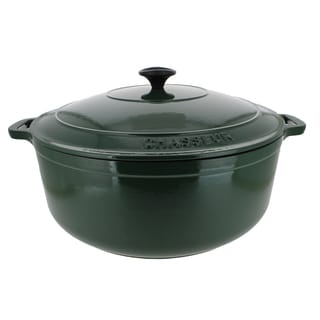 "Chasseur Green Cast Iron Round Casserole with Lid, 8.45 quart (13"" Diameter)"