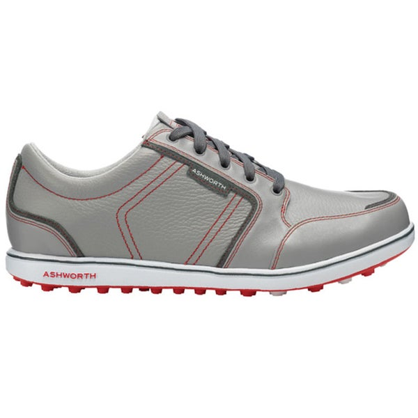 Ashworth Men's Cardiff ADC Spikeless Neutral Grey/Dark Grey/True Red Golf Shoes