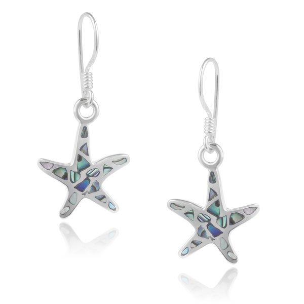 Journee Collection Sterling Silver Handcrafted Shell Starfish Earrings