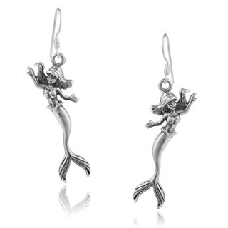 Journee Collection Sterling Silver Handcrafted Mermaid Earrings