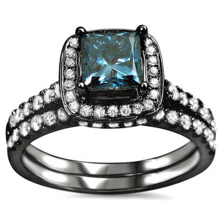 14k Black Rhodium-plated Gold 1 1/2ct TDW Certified Blue Princess-cut Diamond Bridal Ring Set (F-G, SI1-SI2)