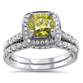 14k White Gold 1 1/2ct TDW Certified Canary Yellow Diamond Bridal Ring Set (F-G, SI1-SI2)
