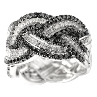 Sterling Silver 1ct TDW Black and White Diamond Band Ring (H-I,I2-I3)