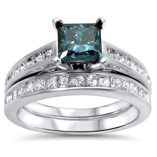 14k White Gold 1 3/5 TDW Blue Diamond Engagement Ring Set (Blue SI1-SI2, G-H, SI1-SI2)