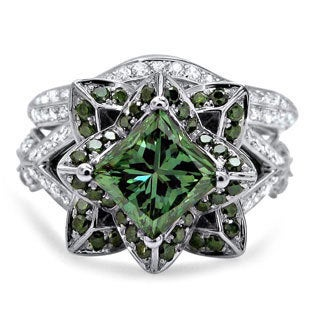 14k White Gold 2 3/4 TDW Green Diamond Lotus Flower Engagement Ring Set (Green, G-H, SI1-SI2)