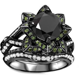 14k Black Rhodium Gold 3 1/2 TDW Black and Green Diamond Lotus Flower Engagement Ring Set (Black VVS1-VVS2, Green, G-H SI1-SI2)