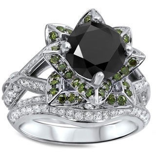 14k White Gold 3 1/2 TDW Green Black Diamond Lotus Flower Engagement Ring Set (Black VVS1-VVS2, Green, G-H SI1-SI2)