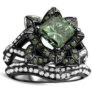 Noori 14k Black Rodium Gold 2 3/4 TDW Green Diamond Lotus Flower Engagement Ring Set ( Green, G-H SI1-SI2)