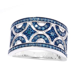 Sterling Silver 1/2ct TDW Blue Diamond Cut-Out Band Ring (I2-I3)
