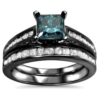 14k Black Rhodium White Gold 1 3/5 TDW Blue Diamond Engagement Ring Set (Blue G-H SI1-SI2)