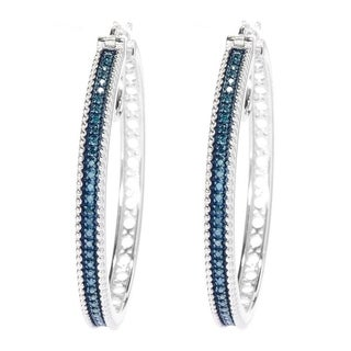 Sterling Silver 1/2ct TDW Color Diamond Hoop Earrings (I2-I3)