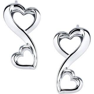 Love Grows Sterling Silver Double Heart Stud Earrings