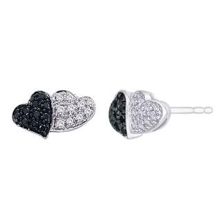 10k White Gold 1/5ct TDW Black and White Diamond Heart Earrings (G-H, I2-I3)