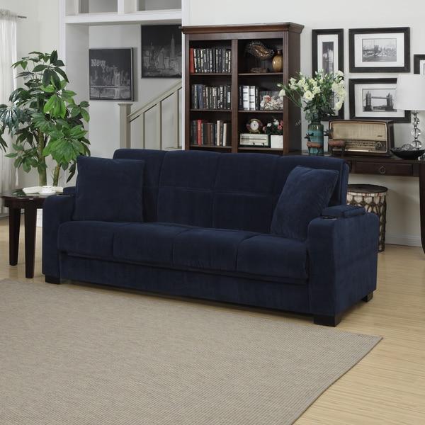 Portfolio Tevin Navy Blue Velvet Convert-a-Couch Storage Arm Futon Sofa