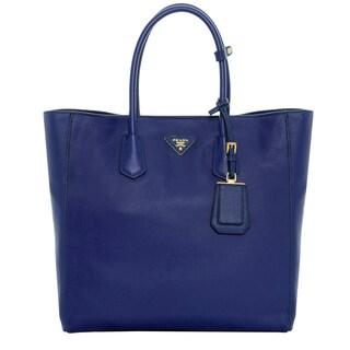 Prada Vitello Royal Blue Grainy Leather Tote