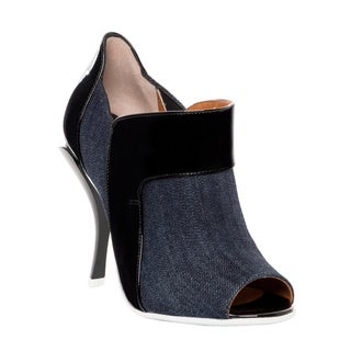 Fendi Sculpted Heel Denim Peep Toe Bootie