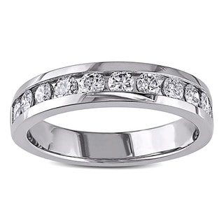 Miadora Platinum 3/4ct TDW Diamond Semi-eternity Band (G-H, VS1-VS2)
