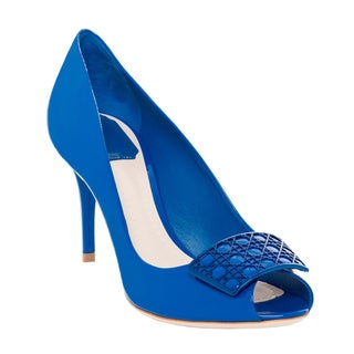 Christian Dior Cannage Plaque Peep-Toe Pumps