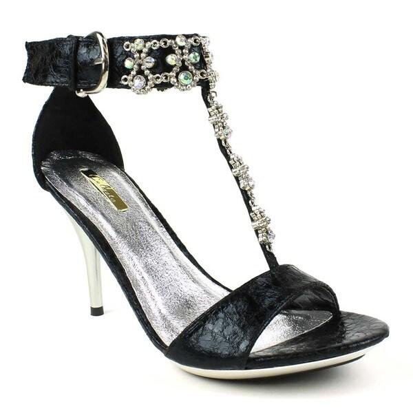 Celeste Women's 'Ayu-06' Black Rhinestone-embellished T-strap Sandals