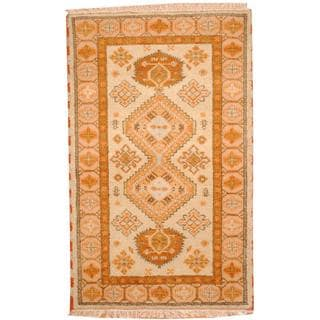 Herat Oriental Indo Hand-knotted Tribal Kazak Light Green/ Light Brown Wool Rug (3' x 5')